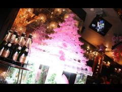 シャンパンタワーも見事な桜色!