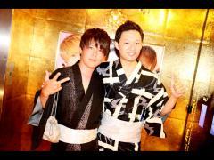 あたるPM,心producerの2ショット!!お二人共黒い浴衣が似合いますね!!